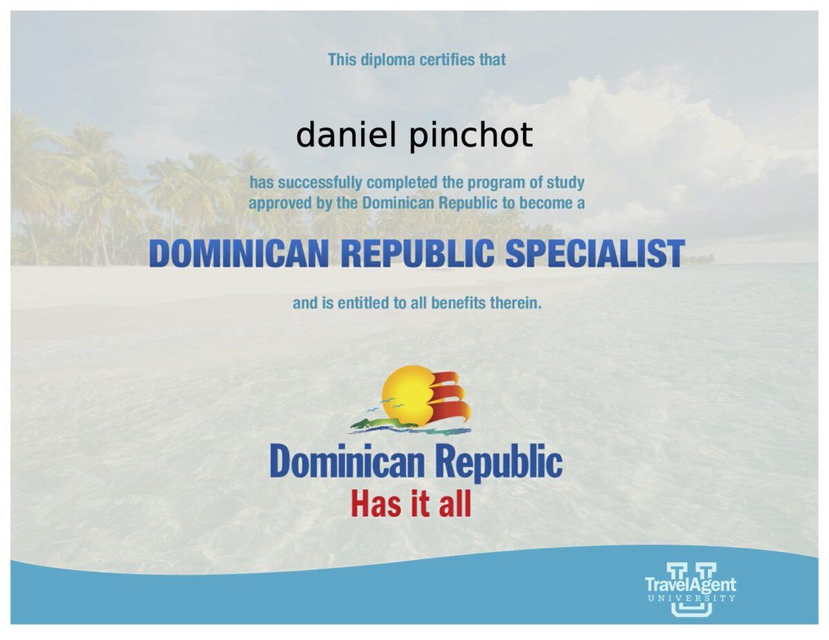 Dominican Republcc Specialist certificate